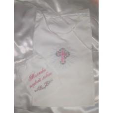 Комплект вышитых мешочков с нежной розовой вышивкой