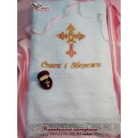 Крестильное полотенце с вышивкой «Спаси и сохрани»