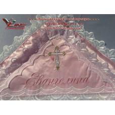 """Крыжма с вышивкой """"Евангелина"""" с ангелочками в нежно-розовых тонах"""