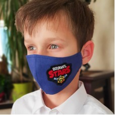 Многоразовая защитная маска для мальчика с вышивкой Braws Stars в цветах хаки и синем