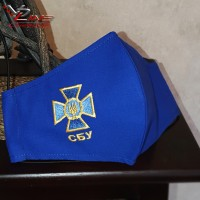Защитная маска с эмблемой Службы безопасности Украины СБУ. Вышивка любого логотипа, пошив масок под заказ