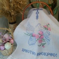 Вышитый рушник  для пасхальной корзины «Голуби»