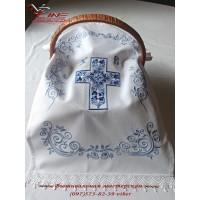 Рушник Пасхальный «Крест в цветах» с нежно-голубой вышивкой