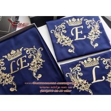 Вышивка монограммы на текстиле, машинная вышивка инициалов