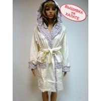 Халат для вышивки двухсторонняя махра нежного кремового цвета, размер S, M, L/XL