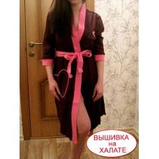 Халат женский для вышивки трикотажный  баклажан, S