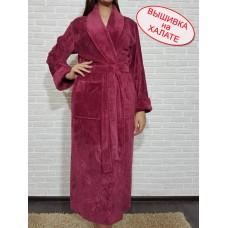 Халат женский длинный для вышивки, красивого цвета баклажан, размеры M, L/XL, 2XL