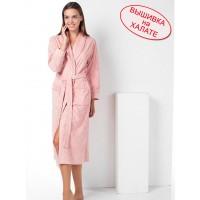 Халат женский для вышивки длинный, нежного пудрового цвета. Размеры: M, L/XL, 2XL, 3XL