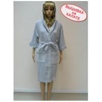 Халат с вышивкой женский трикотажный с капюшоном, размеры L/XL