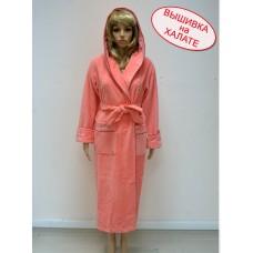 Халат женский для вышивки длинный, цвета грейфрукт, размеры: S, M, L/XL, 2XL