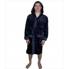 Халат мужской средней длинны, темно-синего цвета,  размеры S, M, L, XL, 2 XL, 3 XL, 4 XL