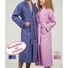 Именной вышитый вафельный халат, серого цвета, размеры L/XL, XXL, XXXL, 4XL