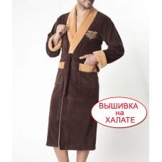 Халат мужской шоколадного цвета. Халат длинный с капюшоном,  размер 3XL
