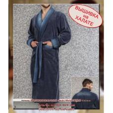 Махровый халат мужской с вышивкой, размеры 2XL, ХXL