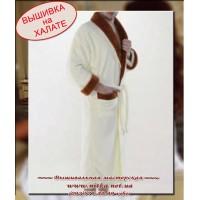 Махровый халат для мужчины под вышивку кремового цвета, размеры 3XL, XXL