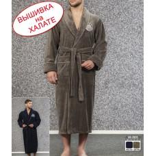 Халат мужской велюровый, цвет хаки - идеальный для именной вышивки. Халат длинный без капюшоном,  размеры S, M, L, XL, 2 XL, 3 XL, 4 XL