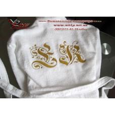 Вышивка монограммы на халате, машинная вышивка инициалов