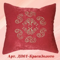 Декоративная подушка красного цвета с вышивкой