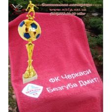 Вышивка логотипа спортивного клуба на полотенце, футболке и форме в подарок юному спортсмену