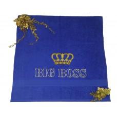 Махровое полотенце с вышивкой «BIG BOSS!»