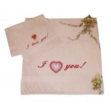 Подарочный набор полотенец с вышивкой «I love you!»