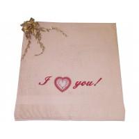 Махровое полотенце с вышивкой «I love you!»