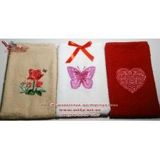 Подарочный набор полотенец с вышивкой Бабочка 3 шт.