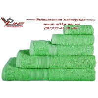 Махровое полотенце салатового цвета для нанесения вышивки