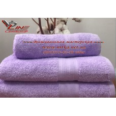 Махровое полотенце  сиреневое 420 г с бордюром