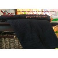 Махровое полотенце черного цвета для нанесения вышивки