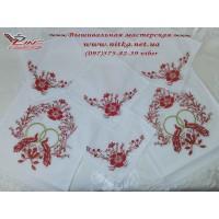 Венчальный набор рушник и 4 салфетки «Пташки кохання»